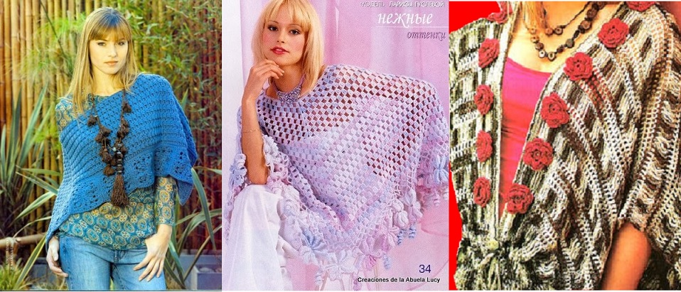 Ponchos al ganchillo con patrones - Crochet y Ganchillo