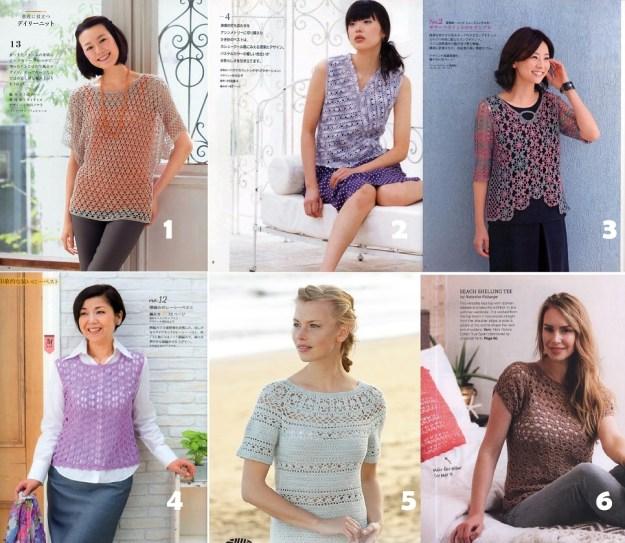 Colección de blusas en crochet con esquemas