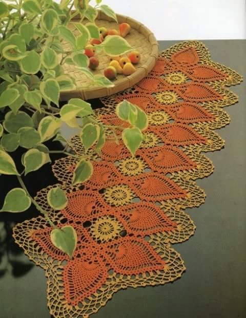 Camino de mesa crochet piñas