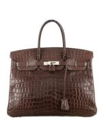 Crocodile Birkin 35 Porosus Palladium Hardware Bag By Hermès