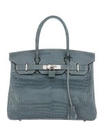 Crocodile Birkin 30 Bag By Hermès Blue Shiny Porosus