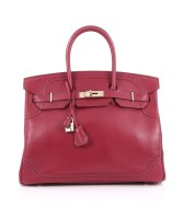 Birkin Bag 35 Ghillies Rubis Tadelakt Gold Hardware Pre-Owned By Hermès