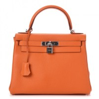 Kelly Bag 28 Hermes Taurillon Clemence Retourne Orange