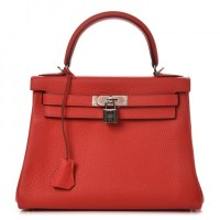 Kelly 28 Rouge Hermes bag Taurillon Clemence Retourne Tomate
