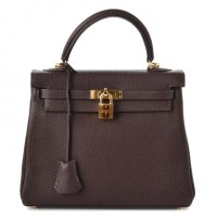 Kelly Bag 25 Hermes Togo Retourne Chocolate