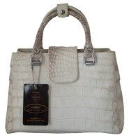 Crocodile Skin Leather Strap White Handbag