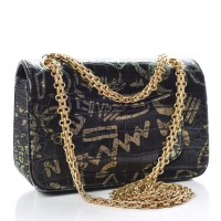 CHANEL Embossed Calfskin Graffiti 2.55 Crocodile Bag