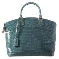 Louis Vuitton Blue Crocodile Bag Skin Leather Satchel