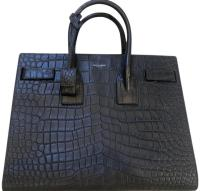 Saint Laurent Crocodile Bag Embossed 2017 Dark Grey Leather Tote