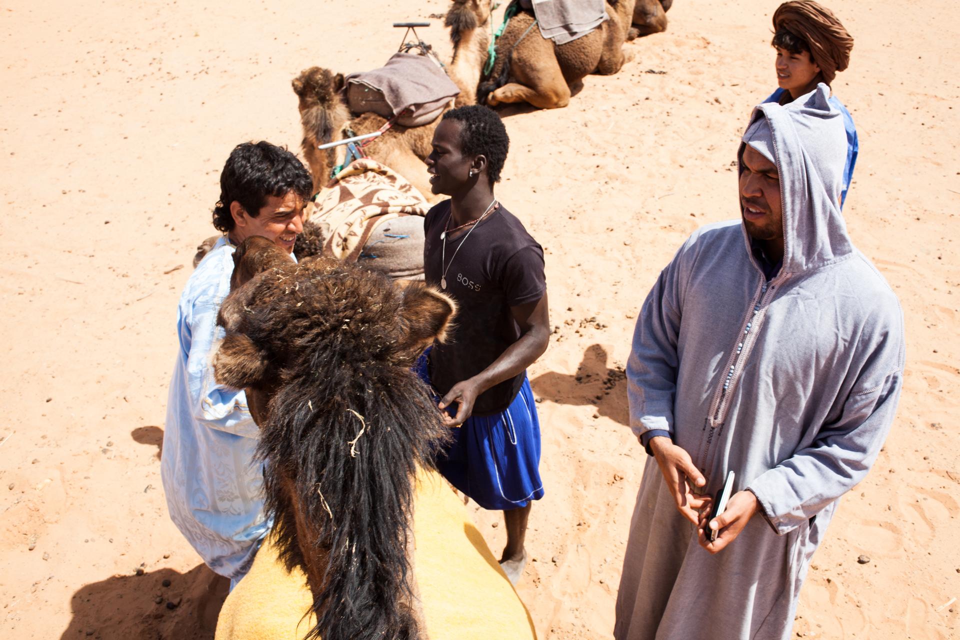 Our guides preparing the caravan