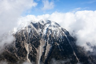 Melintaou summit covered by clouds.