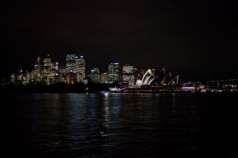 The harbor of Sydney as seen from the sea.