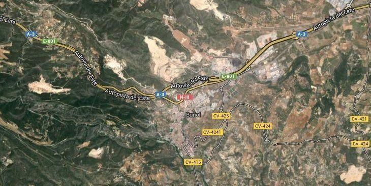 Buñol. Accesos. Imagen satélite.