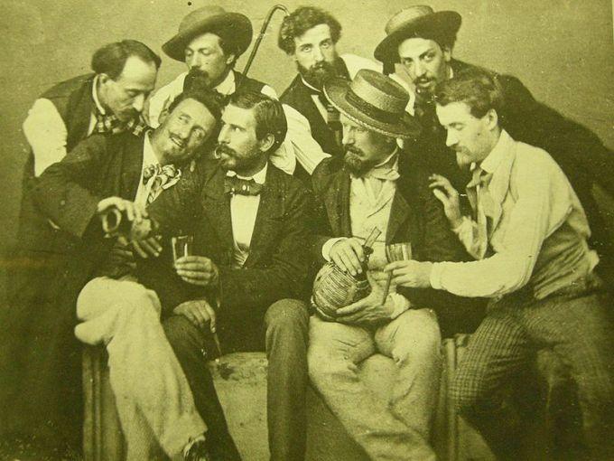 Los Macchiaioli en el Café Michelangiolo. Fotografía de 1856.