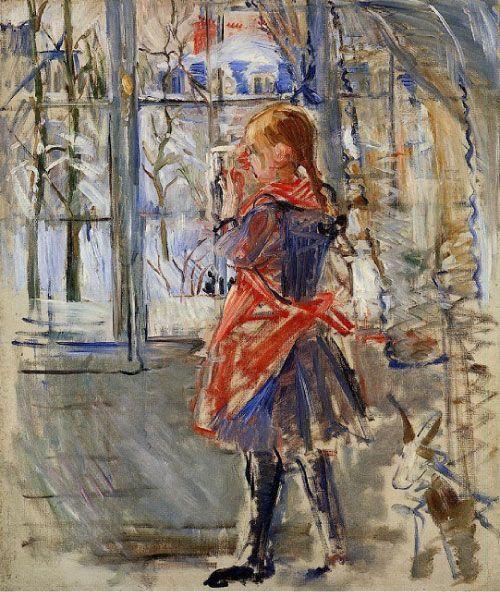 Berthe Morisot, Niña con delantal rojo, 1886