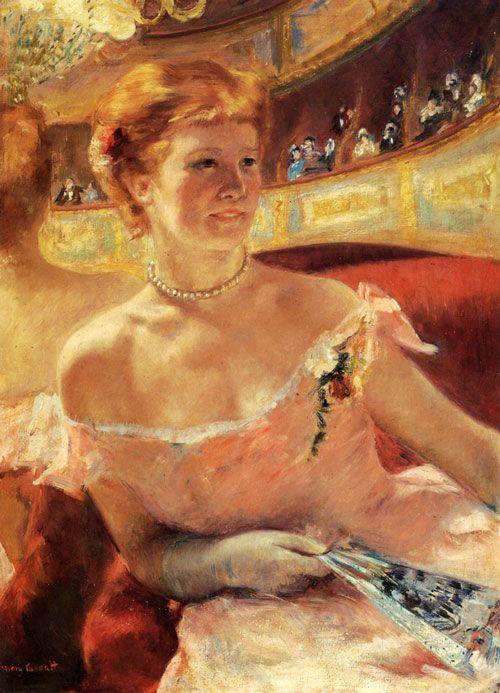 Mary Cassatt, Mujer con collar de perlas en un palco, 1879