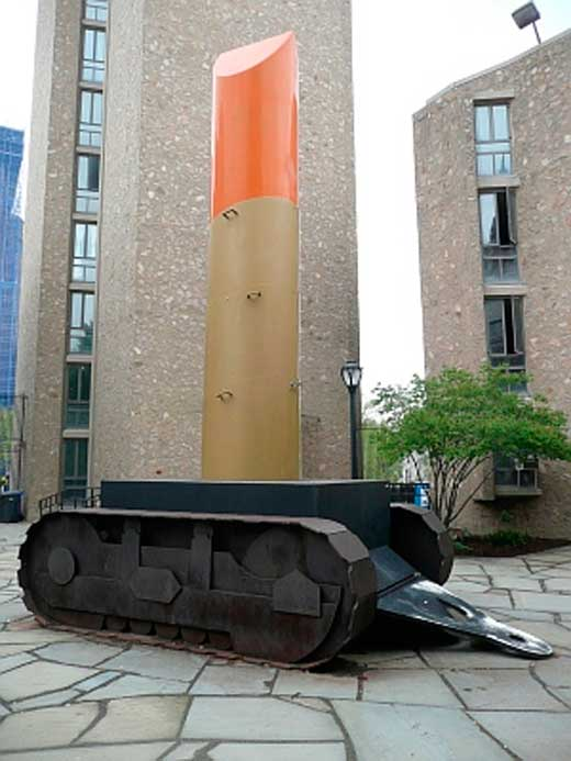 Claes Oldenburg, Lipstick (Ascending) on Catterpillar Track, Morse College, Yale University, Estados Unidos, 1969