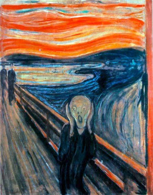 Edvard Munch, El grito, 1893, Galería Nacional de Oslo, Noruega.