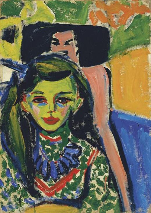 Kirchner, Fränzi ante una silla tallada, 1910, Museo Thyssen-Bornemisza, Madrid.