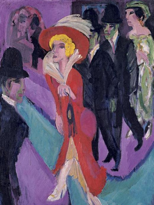 Kirchner, Calle de Berlín con prostituta de rojo, 1914-25, Museo Thyssen-Bornemisza, Madrid.