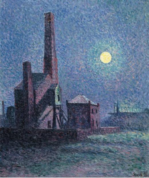 Maximilien Luce, Fábrica a la luz de la luna, 1898, Museo Thyssen-Bornemisza, Madrid.