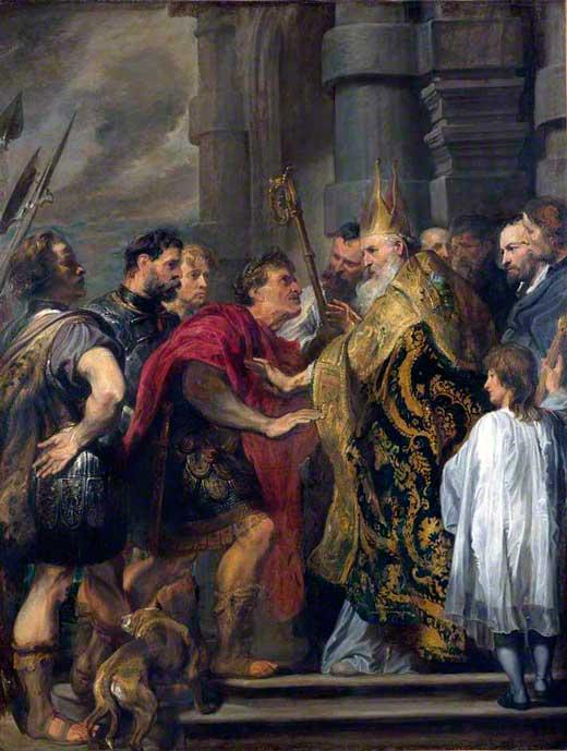 Anton van Dyck, El emperador Teodosio perdonado por San Ambrosio al entrar a la Catedral de Milán, c. 1619-1620, National Gallery, Londres.