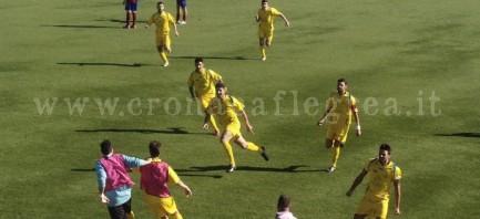 L'esultanza di Diego Cangiano nel derby contro il Mons Prochyta