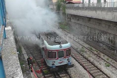 Il treno in fiamme