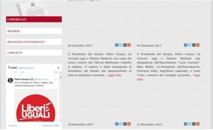 Tweet Grasso con simbolo di Liberi e Uguali sul sito istituzionale del Senato: scoppia la polemica