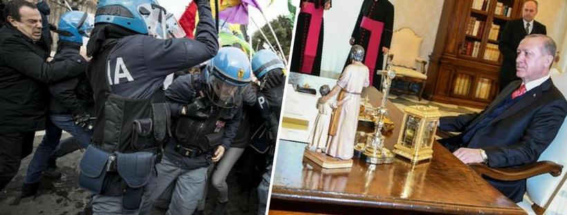 Presidente turco Erdogan dal Papa, poi da Gentiloni e Matarelli: scontri al sit-in di protesta