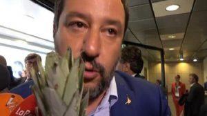 "Intervista a Salvini, tra i microfoni spunta un ananas ma lui ""va avanti"""