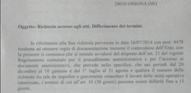 contenziosi per il comune di Ossona