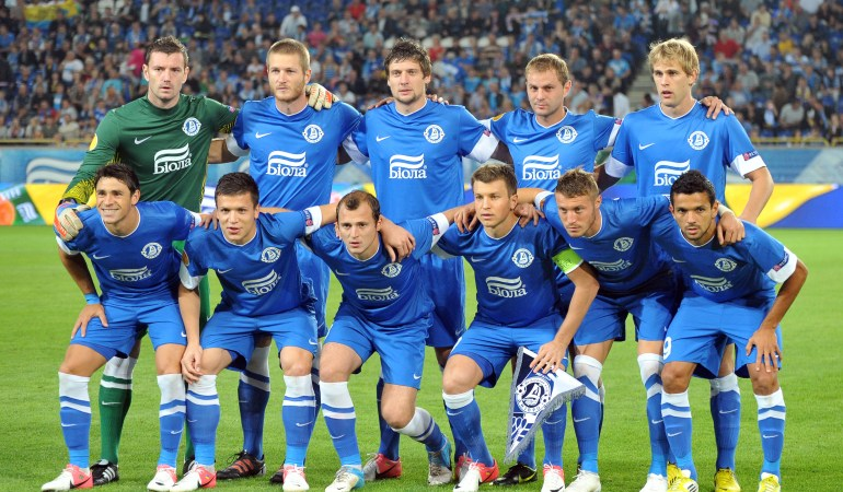 DNIPROPETROVSK, UKRAINE - SEPTEMBER 20:  FC Dnipro Dnipropetrovsk team group taken prior to the UEFA Europa League group stage match between FC Dnipro Dnipropetrovsk and PSV Eindhoven on September 20, 2012 at the Dnipro Arena in Dnipropetrovsk, Ukraine. (Photo by Genya Savilov/EuroFootball/Getty Images)