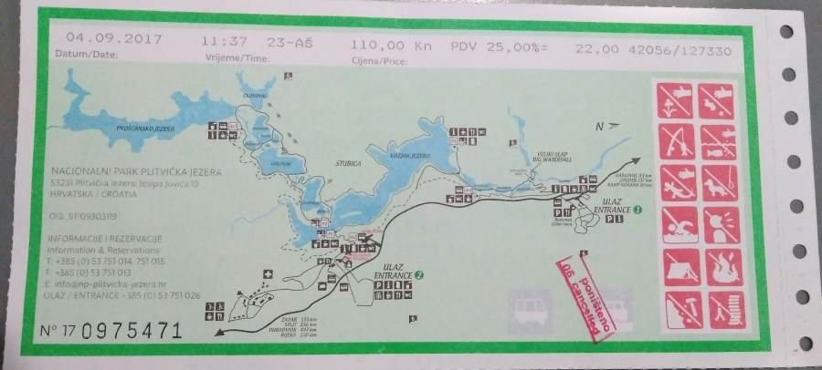 Mapa de Plitvice. Rutas de Senderismo en los lagos Plitvice.