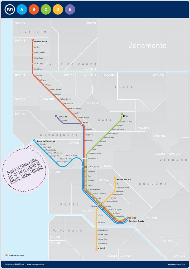 Mapa de metro de Oporto.