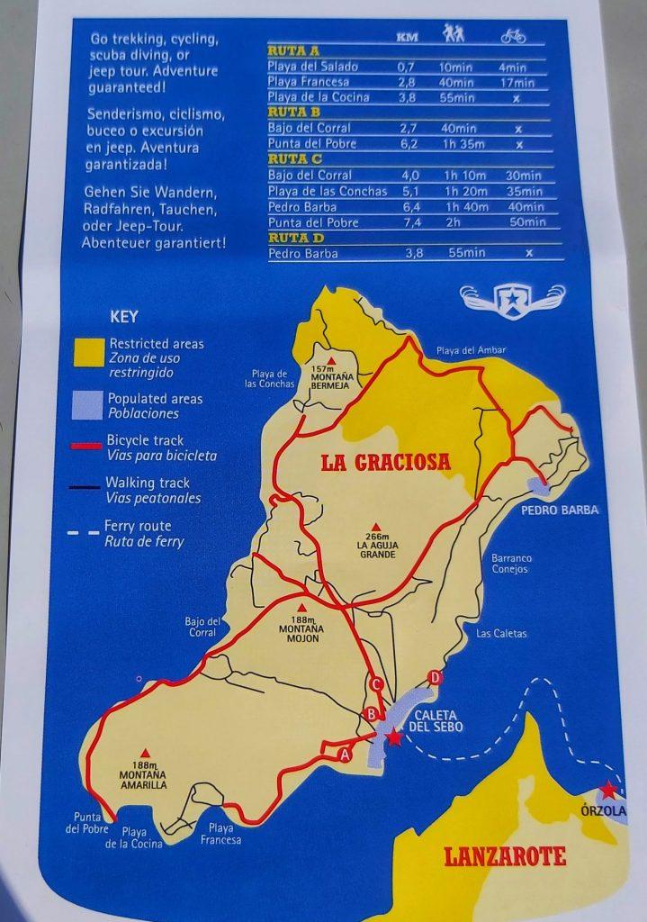 Playas en La Graciosa. Rutas de senderismo y bici.