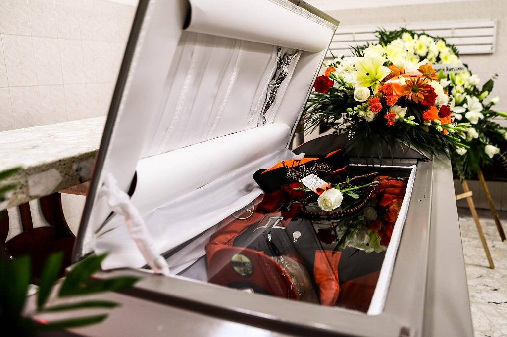 El cuerpo de Marcelino Romero Cantero, mejor conocido como 'El Charalero' se encuentra siendo velado en la funeraria del DIF .... ©Foto: LuisGutierrrez/NortePhoto.com
