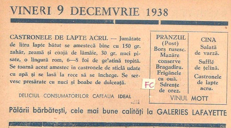 Vineri 9 DECEMVRIE- CASTRONELE DE LAPTE ACRU