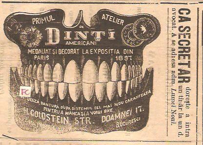 *layout 1898- Primul Atelier de Dinți Americani H. Goldstein, Str. Doamnei 17