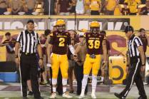 Arizona State captains Mike Bercovici and Jordan Simone before the coin toss.
