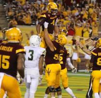 Arizona State running back Demario Richards celebrates after scoring a touchdown. (Photo: Scotty Bara/WCSN)