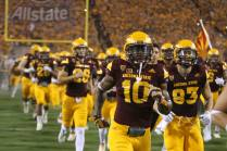 The Sun Devils run out of the Tillman Tunnel for the start of the Cal Poly game. (Photo: Scotty Bara/WCSN)