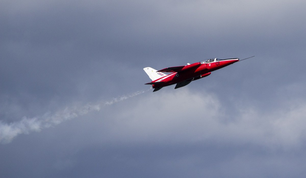 Cloudy skies for the red arrows