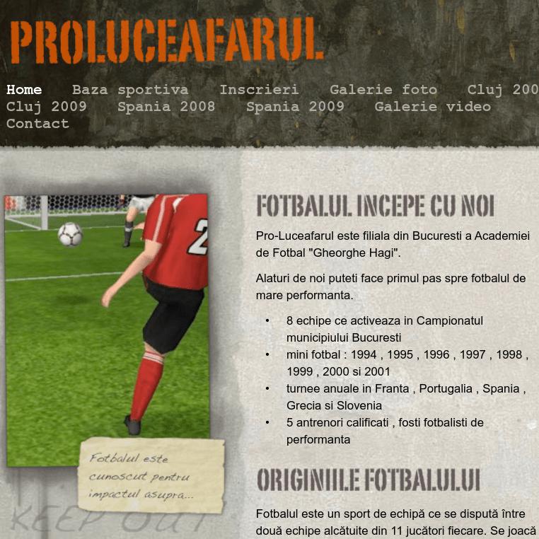 Site-ul echipei de fotbal Proluceafarul