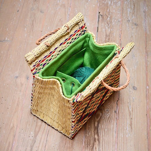 CESTA reed project basket on floor open