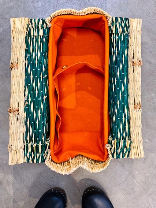 close up of burel lining CESTA reed project basket bright orange lining