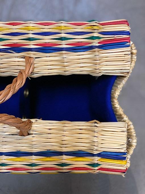 close up of burel lining CESTA reed project basket