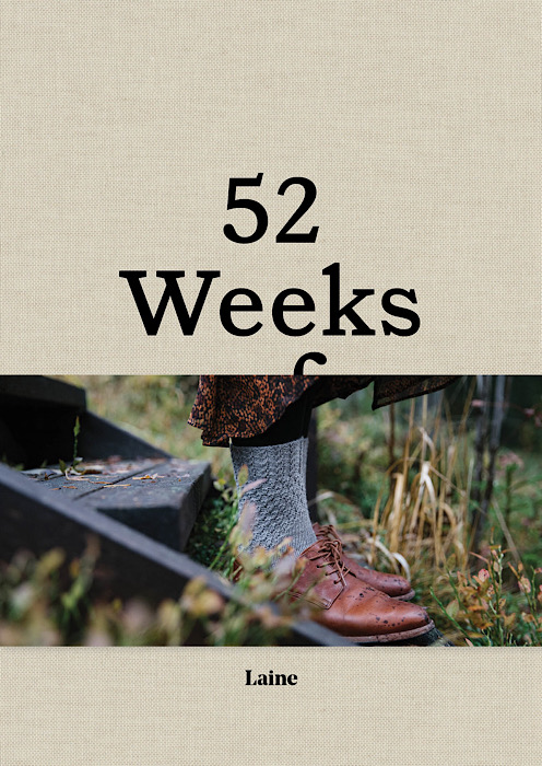 cover book text 52 week and model on stairs wearing knitted socks