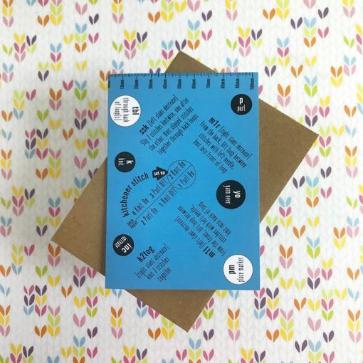 Tilly Flop Designs knitting abbreviation greetings card blue