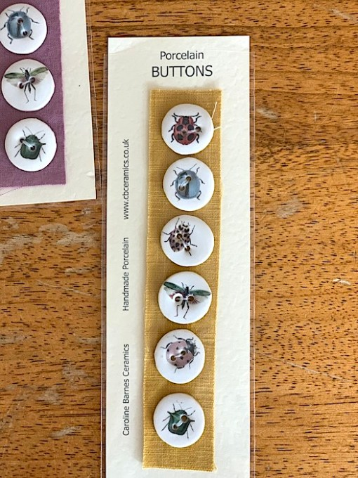 caroline barnes ceramic buttons insects yellow